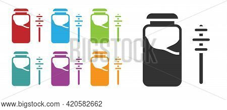 Black Jar Of Honey And Honey Dipper Stick Icon Isolated On White Background. Food Bank. Sweet Natura