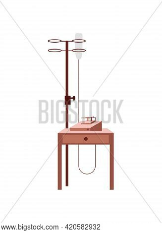 Intravenous Therapy Flat Color Vector Object. Receiving Fluids Through Bloodstream. Medical Drop Cou