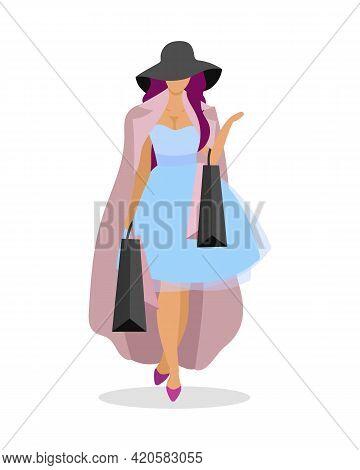 Shopaholic Fashionista Flat Color Vector Faceless Character. Following Fashion Trends. Compulsive Sh