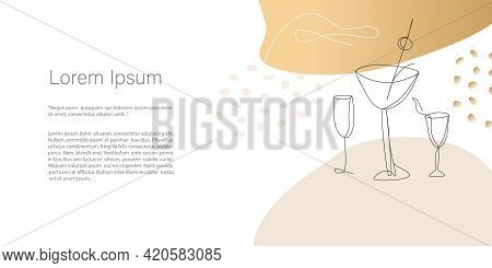 Party, Reception And Alcoholic Drinks. Abstract Minimalistic Vector Template. Line Art Drawing, Abst