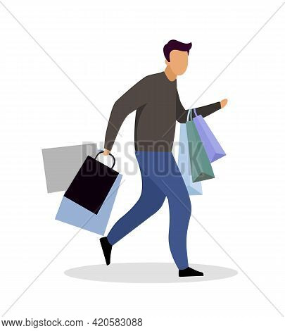 Male Shopaholic Flat Color Vector Faceless Character. Shopping Addiction. Compulsive Goods Purchasin