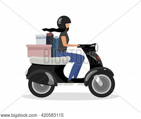 Driving Scooter With Goods Bunch Flat Color Vector Faceless Character. Motor-scooter Road Trip. Woma
