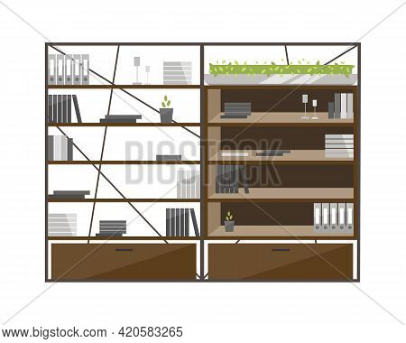 Office Cabinets Flat Color Vector Object. Shelves, Bookcases. Using Cases, Cupboards For Documents S