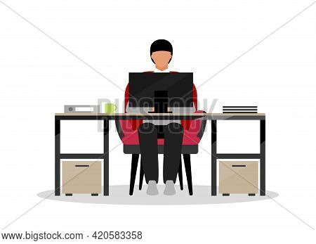 Clerical Employee Flat Color Vector Faceless Character. Performing Office Tasks. Clerical Workstatio