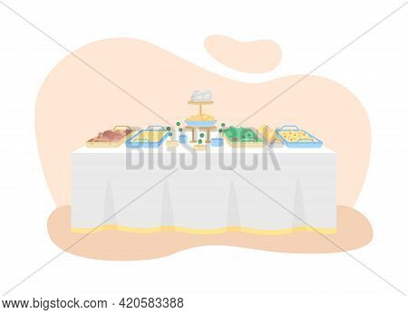 Serving Salads And Appetizers For Dinner 2d Vector Web Banner, Poster. All-you-can-eat Food Flat Obj