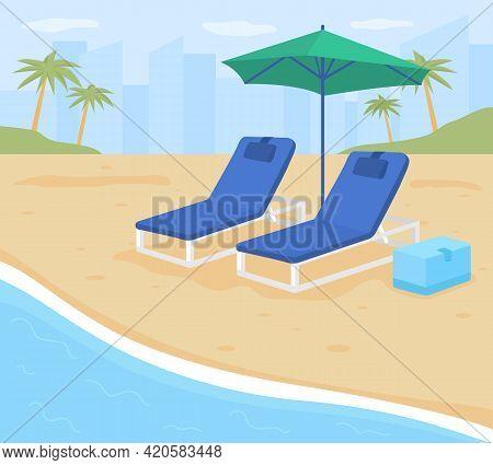 Beach Resort Vacation Flat Color Vector Illustration. Summer Holiday Destinations. Coast Location. O