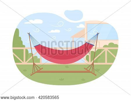 Hammock 2d Vector Web Banner, Poster. Summer Symbol Flat Object On Cartoon Background. Spacious Loun