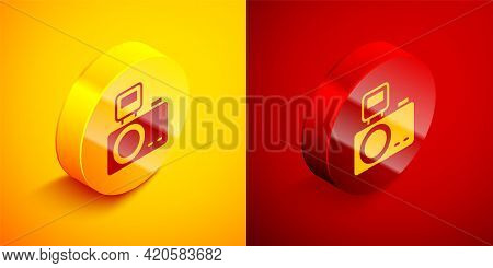 Isometric Photo Camera With Lighting Flash Icon Isolated On Orange And Red Background. Foto Camera.