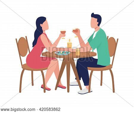 Dining Together At Restaurant Flat Color Vector Faceless Characters. Couple Spending Time At Cafe. D
