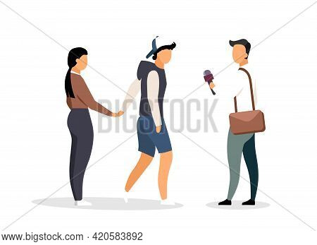 Interviewing Random Strangers Flat Color Vector Faceless Characters. Man-on-the-street Survey. Condu
