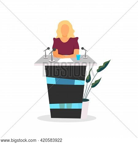 Public Speaker Flat Color Vector Faceless Character. Participating In Debates. Woman Political Leade