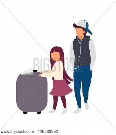 Little Girl And Teenager With Luggage Flat Color Vector Faceless Characters. Sibling With Travel Bag