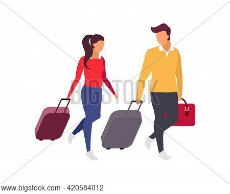 Romantic Couple Travel Flat Color Vector Faceless Characters. Weekend Getaway. Girlfriend And Boyfri