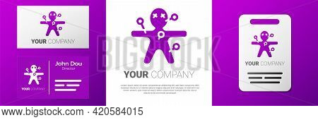 Logotype Voodoo Doll Icon Isolated On White Background. Happy Halloween Party. Logo Design Template