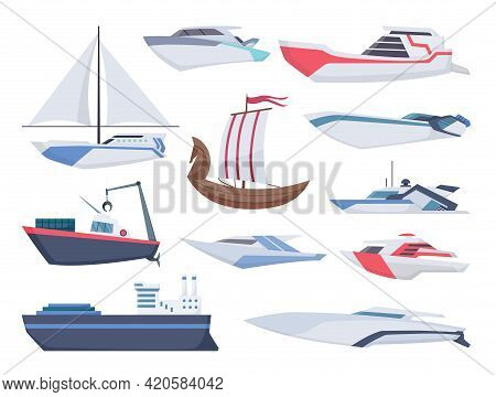 Collection Of Ships. Sea Sailboats Of Water Carriage And Maritime Transport In Modern Flat Style. Fi
