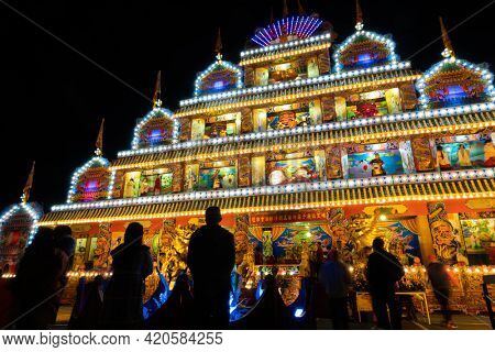 Puli Township, Taiwan -December 01, 2020: colorful building in the night at Chinese altar, Taoist special dedication sacrificial ceremony in Puli township, Nantou, Taiwan