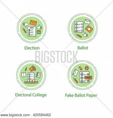 Election Concept Line Icons Set.ballot, Fake Paper, Electoral College, Election. Choice, Vote Concep