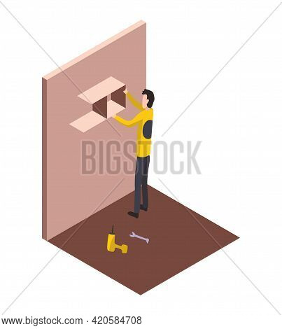 Isometric Worker. Home Repair Isometric Form With Craftsman Who Mounts Furniture. Professional Peopl