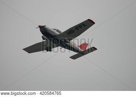 Piper Pa-28-181 Archer Ii Is Departing From The Airport Saint Gallen Altenrhein In Switzerland 28.4.
