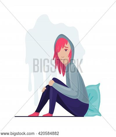 Depressed People. Sad Girl Sitting On The Floor And Hugging Her Knees. Lonely Teenager. Symbol Of So