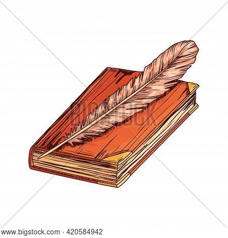 Old Book With Antique Quill . Education And Wisdom Concept. Vector Icon For Education And Literature