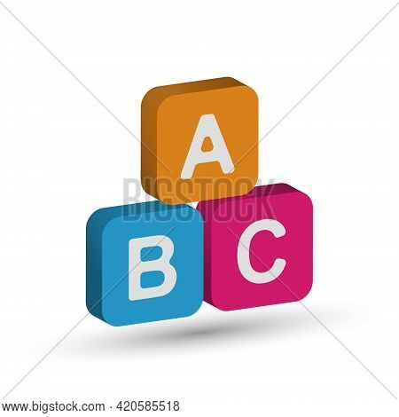 Three-dimensional Cubes With Letters Of The Alphabet A, B, C. Vector Illustration For Education And