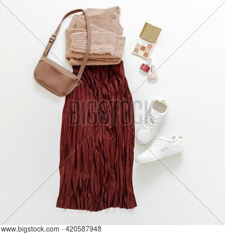 Folded Clothes For Women Fashion Urban Basic Outfit. Female Spring Look Autumn Outfit Burgundy Skirt