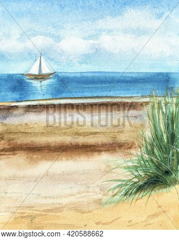 Watercolor Seascape. Yacht With White Sails In The Blue Sea. Sand Beach