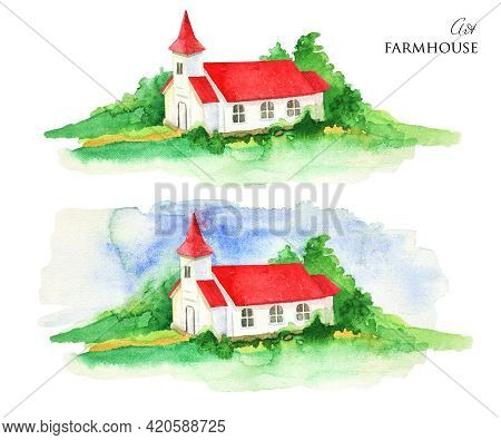 Watercolor Rural House. House With Red Roof Illustration. Hand Drawn Farmhouse