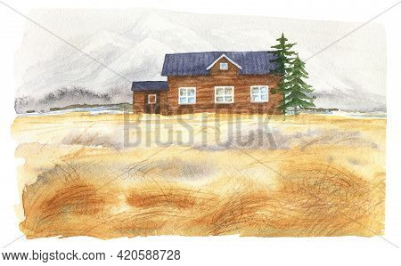Watercolor Wooden Cottage. Rural House In Field. Mountain House Illustration