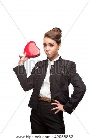 young happy business woman on valentine's day