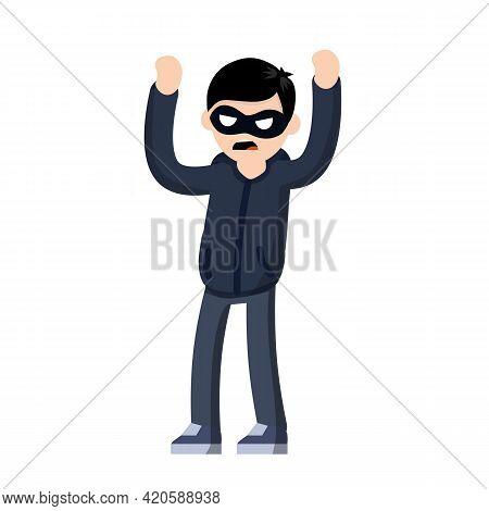 Thief Raised Hands. Man In Black Robber Mask. Cartoon Flat Illustration. Detention Of Criminals. Ban