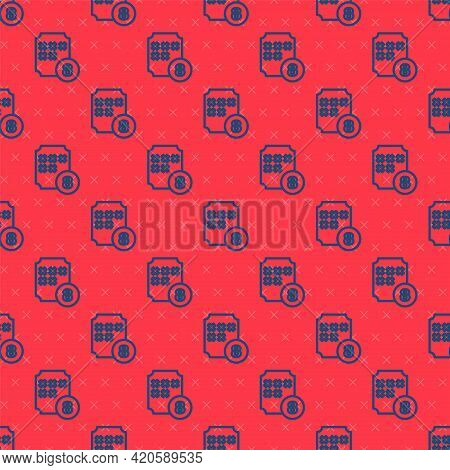 Blue Line Bingo Or Lottery Ball On Bingo Card With Lucky Numbers Icon Isolated Seamless Pattern On R