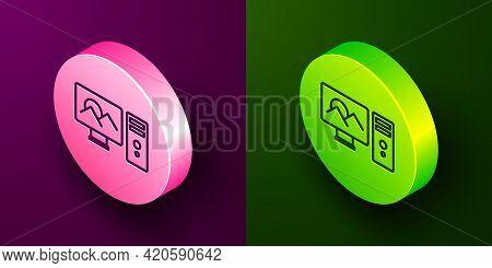 Isometric Line Photo Retouching Icon Isolated On Purple And Green Background. Photographer, Photogra