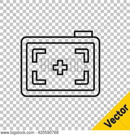 Black Line Photo Camera Icon Isolated On Transparent Background. Foto Camera. Digital Photography. V