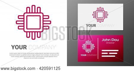 Logotype Line Computer Processor With Microcircuits Cpu Icon Isolated On White Background. Chip Or C
