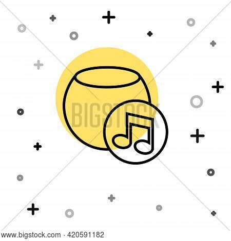 Black Line Voice Assistant Icon Isolated On White Background. Voice Control User Interface Smart Spe