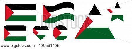 Flag Of Palestine. Palestine Flag Set Design. Vector Illustration.