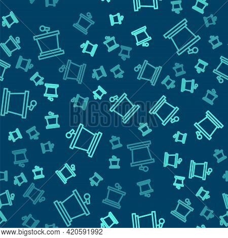 Green Line Stage Stand Or Debate Podium Rostrum Icon Isolated Seamless Pattern On Blue Background. C