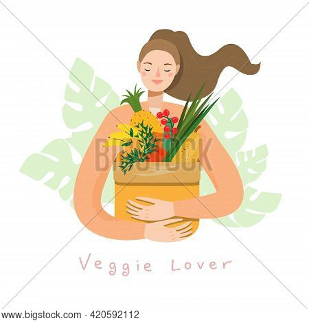 Young Woman Holding Natural Fruits And Vegetables In Grocery Paper Bag. Vegan Girl Eat Organic Produ