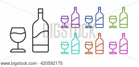Black Line Wine Bottle With Glass Icon Isolated On White Background. Set Icons Colorful. Vector