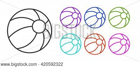 Black Line Beach Ball Icon Isolated On White Background. Children Toy. Set Icons Colorful. Vector