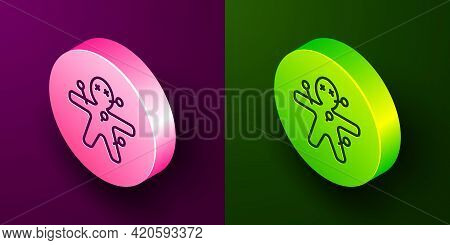 Isometric Line Voodoo Doll Icon Isolated On Purple And Green Background. Happy Halloween Party. Circ