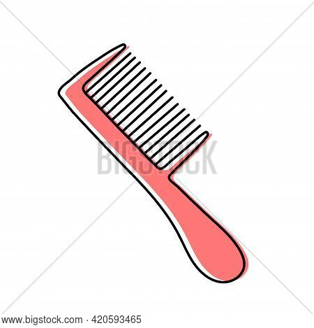 Comb. Hairdressing Equipment Line Sketch. Professional Hair Dresser Tool. Hand Drawn Doodle Icon. Ve