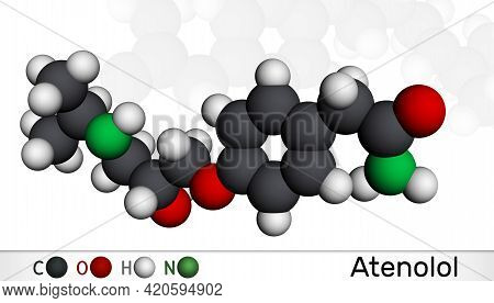 Atenolol Cardioselective Beta-blocker Molecule. It Is Antihypertensive, Hypotensive And Antiarrhythm