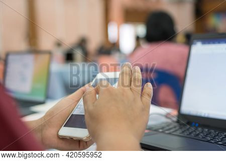E-learning Education Online Learning Concept,teacher Groups Computer Training Technology Or Coding A