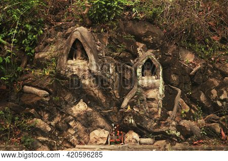 Small Buddha Statue And Holy In Wall Of Wat Phou Si Stupa Temple Of Luangprabang Lao City For Laotia