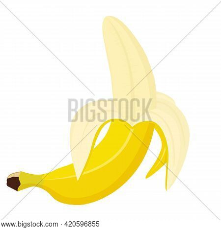 Opened Banana In Cartoon Style. Half Peeled Banana. Flat Design. Yellow Banana Isolated On White Bac