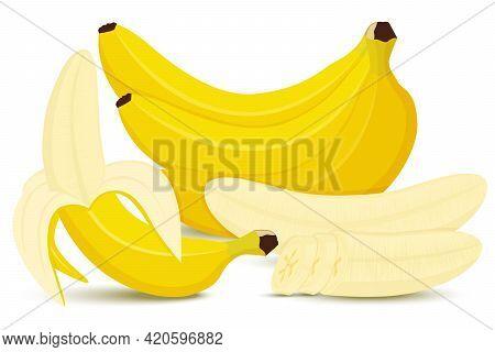 Set Of Bananas. Banana, Half Peeled Banana, Bunch Of Bananas, Pieces And Slices Of Banana Isolated O