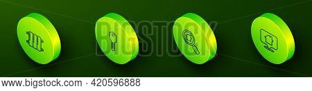 Set Isometric Line Heating Radiator, House Key, Search House And Location With Icon. Vector